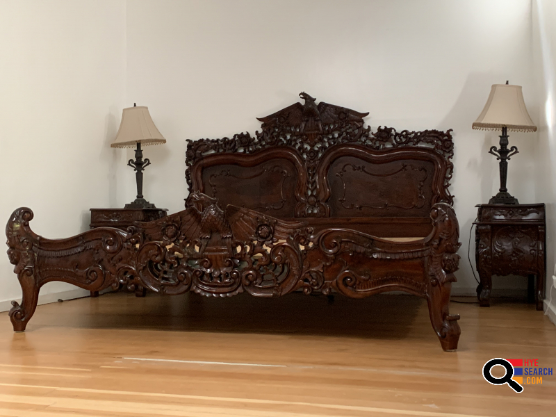 Spectacular One Of A Kind Carved Mahogany King Bed with Matching End Tables