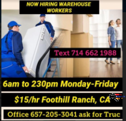 Warehouse Workers Needed for Company in Foothill Ranch, CA